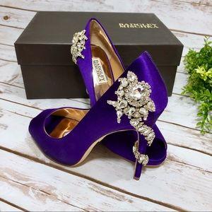 Badgley Mischka Royal Purple Satin Crystal Heels